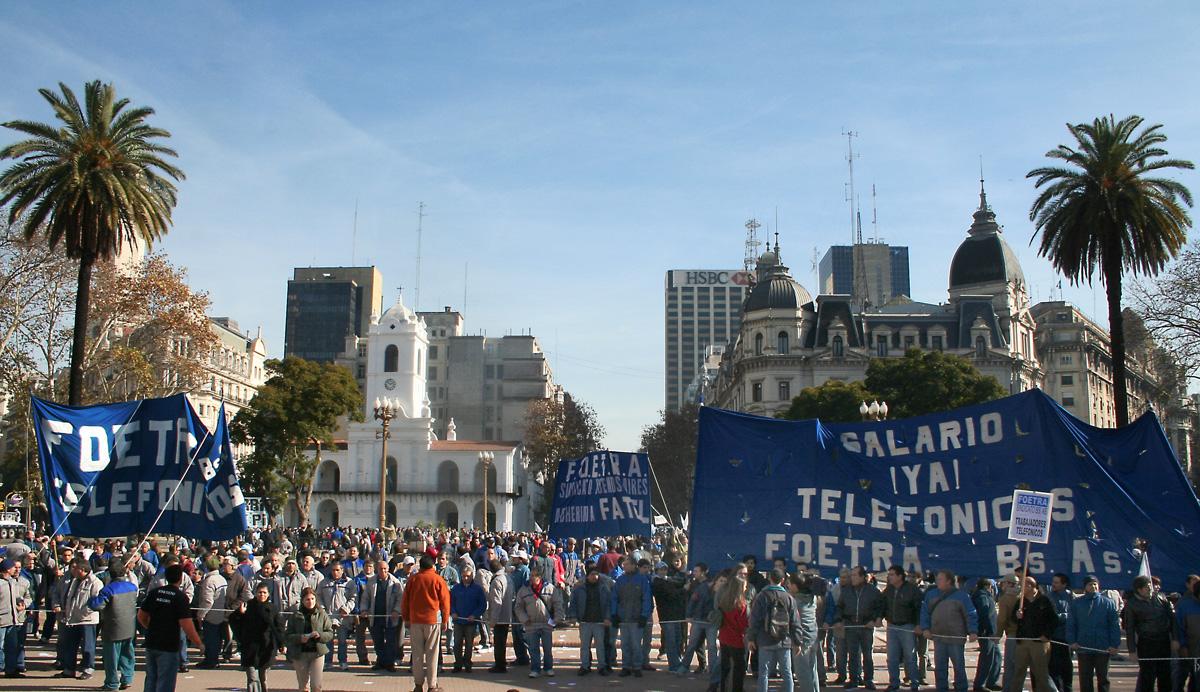 Los telefónicos en Plaza de Mayo 28 de Julio de 2007