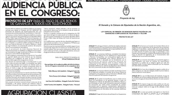 Proyecto de Ley para el pago de los Bonos de ganancia a todos los telefónicos
