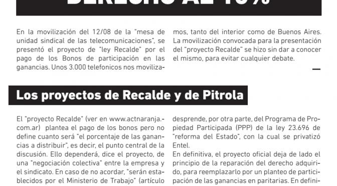 El miércoles 26/8 se discuten los proyectos de Pitrola y Recalde por los Bonos en el Congreso