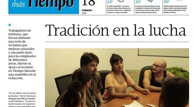 Viva la lucha de los Trabajadores de Tiempo Argentino .