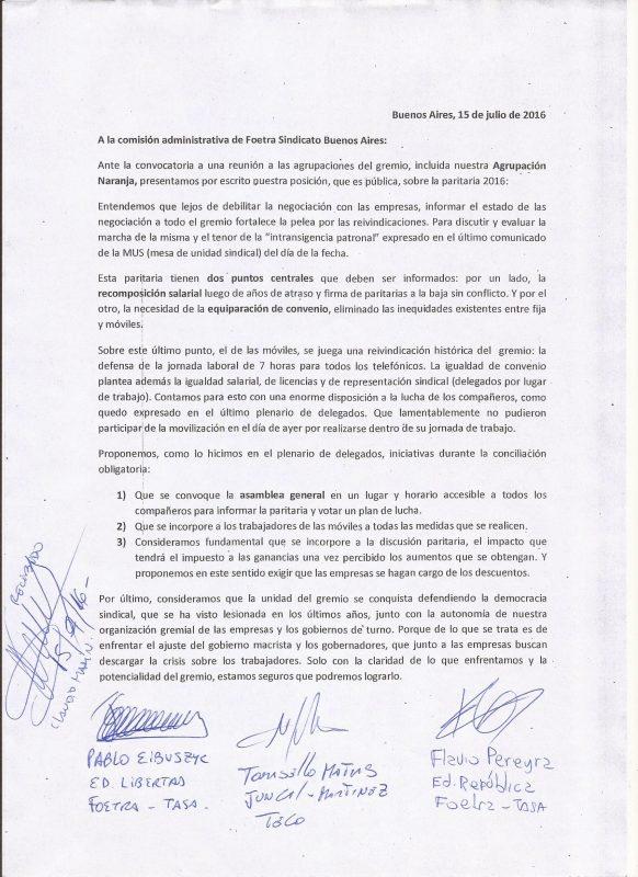 CARTA DE LA NARANJA PRESENTADA A LA DIRECTIVA DE FOETRA