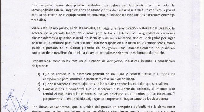 REUNION DE LA DIRECTIVA DE FOETRA CON LA NARANJA. BALANCE DEL DEBATE Y PROPUESTAS.