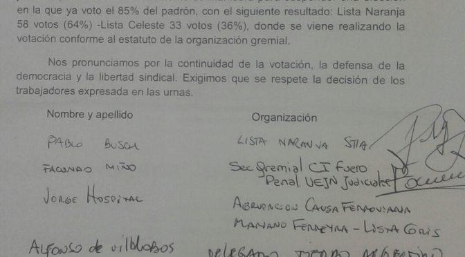 Derrotemos la suspensión de las elecciones del SOEESITMi. Pronunciamiento dirigido al juez Silva Dico.