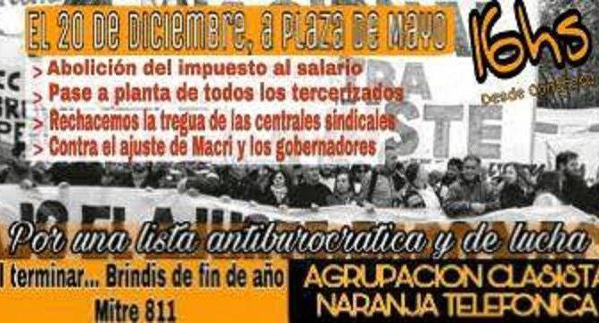 Telecom Personal: una conciliación obligatoria a la medida de la empresa. Por un Bono de fin de año y el convenio // Hoy 20/12 marcha y acto en Plaza de Mayo.