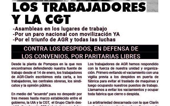 Carta de los obreros de AGR-Clarín a los trabajadores y la CGT