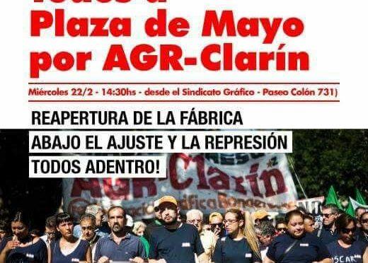 AGR-Clarín: Miércoles 22 los gráficos marchan a Plaza de Mayo