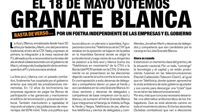 Boletín Naranja Telefónicos N° 49 – El 18 de Mayo votemos Granate-Blanca por un Foetra independiente de las empresas y los gobiernos