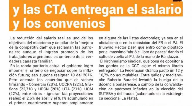Las burocacias de la CGT y la CTA entregan el salario y los convenios
