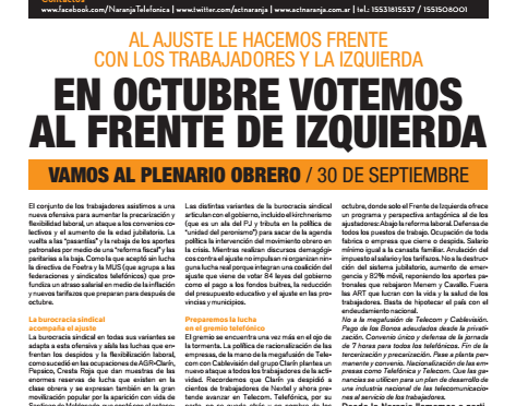 Boletín Naranja N° 51 – Septiembre de 2017 – Al Ajuste le hacemos Frente con los Trabajadores y la Izquierda
