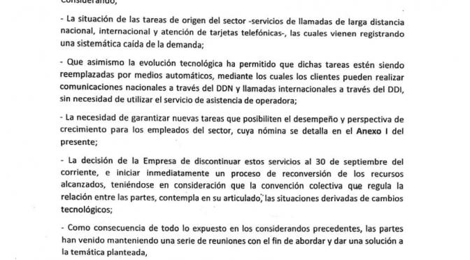 OTRA ACTA INCONSULTA DE LA DIRECTIVA DE FOETRA.: TELECOM CIERRA LA OPERADORA INTERNACIONAL (000) Y (19) Y AVANZA CON LA POLIFUNCIÓN.