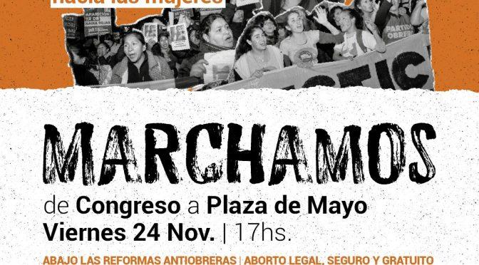 Hoy marchamos a Plaza de Mayo por el Día Internacional contra la violencia hacia las mujeres