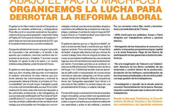 Boletín Naranja N°52 – ABAJO EL PACTO MACRI-CGT : ORGANICEMOS LA LUCHA PARA DERROTAR LA REFORMA LABORAL
