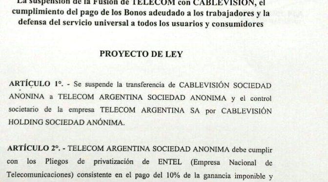Apoyemos el proyecto para suspender la fusión de Cablevision y Telecom : Reportaje a Pablo Eibuszyc
