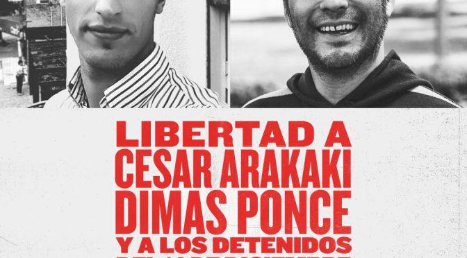Todos a Plaza de Mayo Con el Encuentro Memoria Verdad y Justicia por la libertad de César y Dimas y todos los luchadores. Contra la criminalización y el ajuste. A las 17, desde Congreso.
