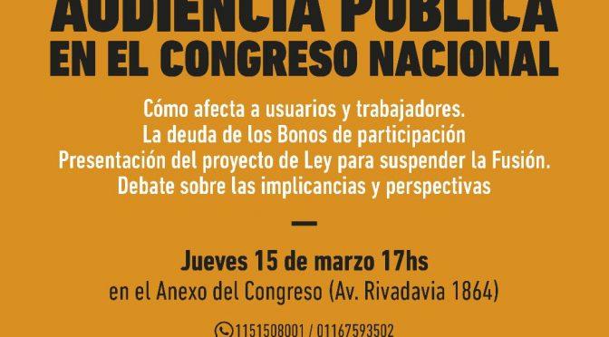 1° Audiencia Pública en el Congreso Nacional contra la fusión de Telecom con Cablevisión