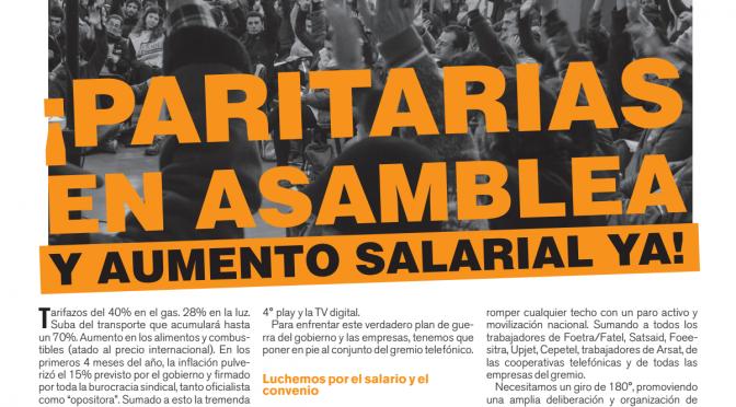 Boletín Naranja Mayo de 2018 – PARITARIAS EN ASAMBLEA Y AUMENTO SALARIAL YA!