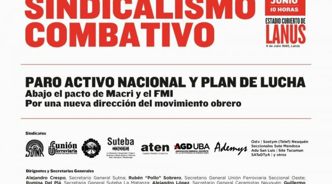 ¡SALARIO YA! El 23, a Lanús con los sindicatos combativos El 25, a las calles por un verdadero PARO ACTIVO NACIONAL