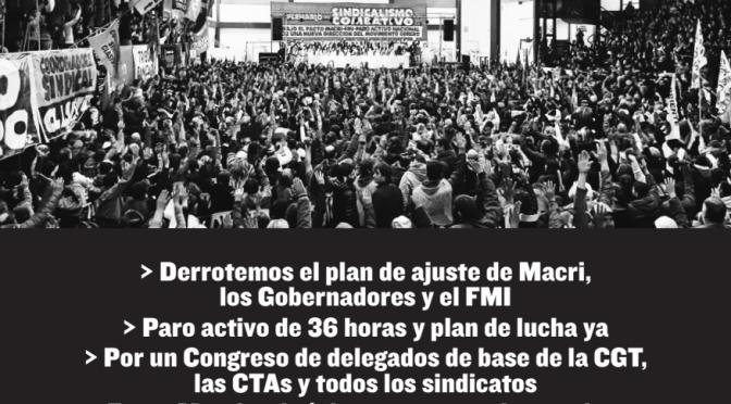 Sabado 15/9 vamos al plenario del sindicalismo combativo