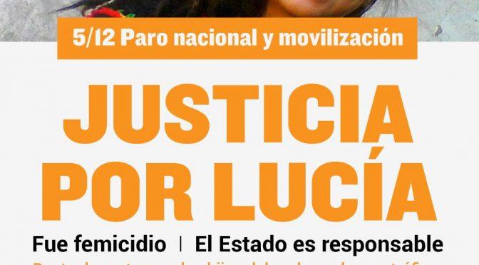 Justicia por Lucia. Basta de impunidad. Organicemos el paro y movilización